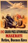 1947 Grand Prix Automobile Maserati Buenos Aires Vintage Poster Repro FREE S/H
