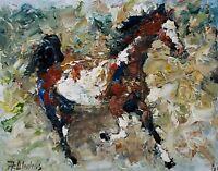 ANDRE DLUHOS ORIGINAL OIL PAINTING Pinto Paint Horse Equine Equestrian Stallion