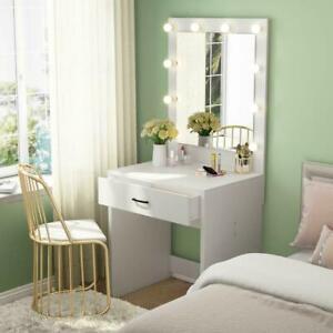 Vanity Set with 10 Warm Lighted Mirror Makeup Dressing Table Dresser Desk White