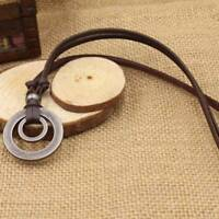 Men Women Double Ring Adjustable Leather Cord Necklace Pendant Jewelry J