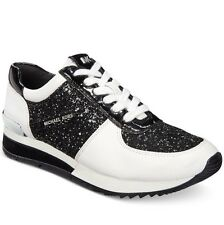 NEW MICHAEL KORS ALLIE WRAP TRAINER SNEAKERS WHITE/SILVER /BLACK SPARKLE SIZE 8M