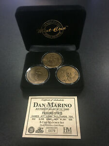 NFL Football Dan Marino 3 Coin Matched Set by Highland Mint