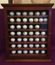 Golf Ball Display Case Cabinet Glass door 42 balls Wood Cherry Finish Green Felt