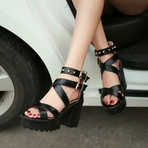 Lady Roman Chunky Heels Punk Rivets Sandals Platform Cross-Strap Gothic Heels