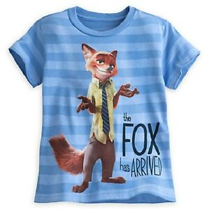 """DISNEY STORE ZOOTOPIA NICK WILDE STRIPED TEE T-SHIRT  """"THE FOX HAS ARRIVED"""" NWT"""