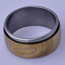 B1368 European Style Vintage Men's Band Ring Yellow White Gold Filled Size 9#