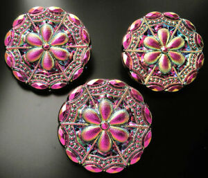 "3 Czech VASELINE Glass LACY Buttons #B482 - 27 mm or 1"" - RAINBOW IRIDESCENT!!!!"