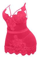 Sexy Lingerie Plus Size Pink Lace Chemise Set Sleepwear  XL 2XL 3XL