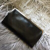 """HOBO International Black Silver Leather """"Lauren"""" Fold Clasp Wallet Clutch"""