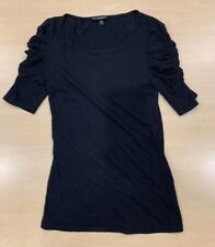 Topshop Womens Black Top With Ruched Sleeves - Size UK 10