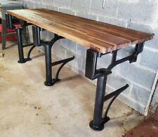 Antique Industrial Table Cast Iron Machine Legs Williamsburg Butcherblock Top