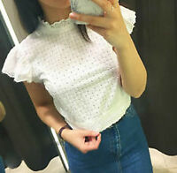 NWT ZARA Frilly Poplin Cropped Blouse Mock Neck Flutter Sleeve Top 6819/044 XS