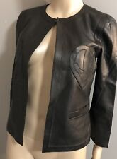 CHANEL Iconic Black Leather Heart CC black leather Jacket sz FR 38 2009