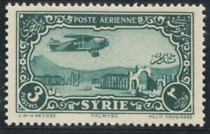 Syria 1931. Airmail. 3 piastres. Aircraft over Landscape and Cities. MNH