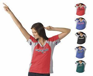 NHL Women's HANDS HIGH Sideline Fan V-Neck Tee Shirt - Sizes: S, M, L, XL  (BX)