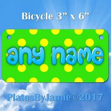 GREEN YELLOW POLKA DOT CUSTOM ANY NAME or TEXT Childs Bicycle Bike License Plate