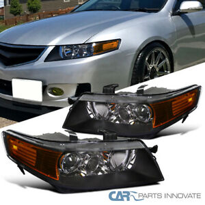 For 04-05 Acura TSX 4Dr Sedan Replacement Black Projector Headlights Headlamps