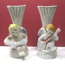 """2 china angel vases with musical instruments 3.5 """" tall  Japan B11"""