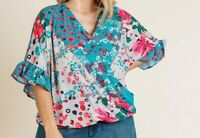 New Umgee Top 1X Blue Floral Animal Ruffle Sleeve Boho Peasant Plus Size