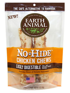 "Earth Animal NO HIDE CHICKEN DOG CHEWS 4""  2 Pak Rawhide Alternative MADE IN USA"
