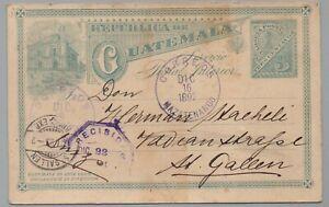GUATEMALA - MAZATENANGO / 1892 POSTAL STATIONERY TO SWITZERLAND