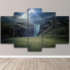Mountain Landscape Waterfall 5 Piece Canvas Wall Art Nature Print Home Decor