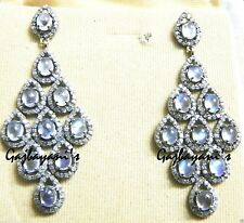 MAGNIFICENT MOON STONE &  PAVE SINGLE CUT DIAMOND 14K GOLD/SILVER EARRING