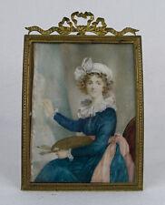 Antique Hand Painted Miniature Portrait of Élisabeth Louise Vigée Le Brun