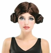 Adult Ladies Star Wars Space Princess Leia Fancy Dress Bun Wig Cosplay New
