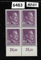 #6483     MNH 1943 block 80 Gr / Adolph Hitler /  Occupied Poland / Third Reich