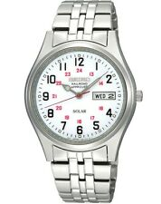New Seiko Solar Men's Dress Railroad Approved Stainless Steel Watch SNE045