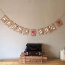❤️ 90th Birthday Bunting Banner. Vintage Hessian Burlap Rustic❤️