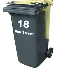 WHEELIE BIN STREET NUMBER Custom Waterproof Art Vinyl Sign Decal Stickers