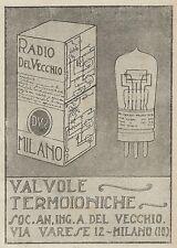 Z2065 Radio Del Vecchio - Valvole termoioniche - Pubblicità d'epoca - Advertis.