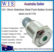 12V Green LED Stainless SteelMetal Switch Push Button Latching ON-OFF 16mm-61118