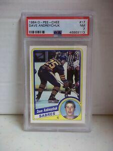 1984 O-Pee-Chee Dave Andreychuk Rookie PSA NM 7 Card #17 NHL HOF Buffalo Sabres