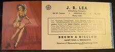 Vintage Original Pin Up Blotter Elvgren Shy Retiring Brunette Lingerie J. B. Lea