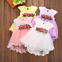 US Toddler Kids Baby Girl Floral Dresses Party Princess Wedding Tutu Dress Skirt
