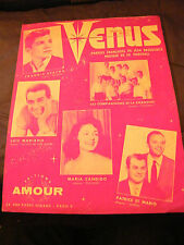 Partition Venus Frankie Avalon Luis Mariano Maria Candido Music Sheet 1959