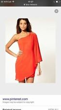Lipsy One Shoulder Embellished Cape Dress Tobasco Burnt Orange Size 6 NEW Xmas
