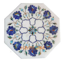 "12"" White Marble Coffee Table Top Lapis Floral Inlay Interior Outdoor Decor W276"