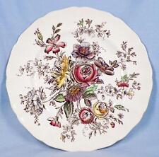 Johnson Brothers Sheraton Dinner Plate Flowers Multi Color Transfer Vintage (O)