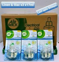 3x Air Wick Freshener, Plug-In,Crisp Linen and Lilac,Refill 17ml