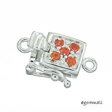Sterling Silver CZ One-strand Pearl Box Clasp 8mm Orange Red #51544
