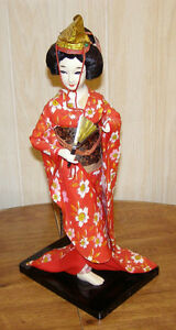 "Vintage Japanese Geisha Doll Wearing Kimono on stand 16 1/4"" (41.3cm)"