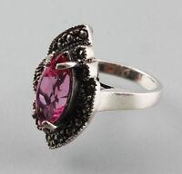 99825186 925er Silber Ring mit rosa Stein und Markasiten Gr. 56