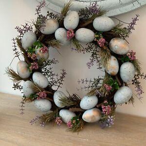 Duck Egg Blue Easter Egg Flower Wreath Gisela Graham Decoration Artificial Door