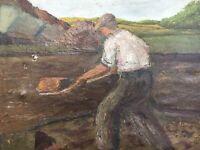 Ölgemälde Torfarbeiter Torfstecher Mann Moor Portrait signiert 71 x 88 cm