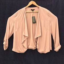 LOOK Waterfall Blazer Jacket Top Popper Sleeve Pale Pink UK 18 With Tags
