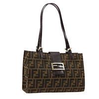 FENDI Zucca Hand Tote Bag Purse Brown Canvas Leather R11795